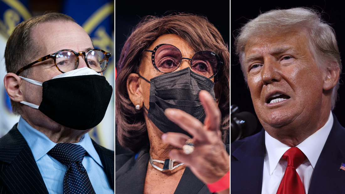 From left: Rep. Jerrold Nadler, Rep. Maxine Waters, Former U.S. President Donald Trump