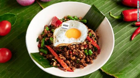 "Impossible Foods' meatless ""beef"" served as a krapow dish with fried egg at Cafe Siam, a restaurant in Hong Kong."