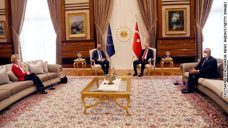 The European Union's two presidents met Erdogan in Ankara, Turkey, on April 6.