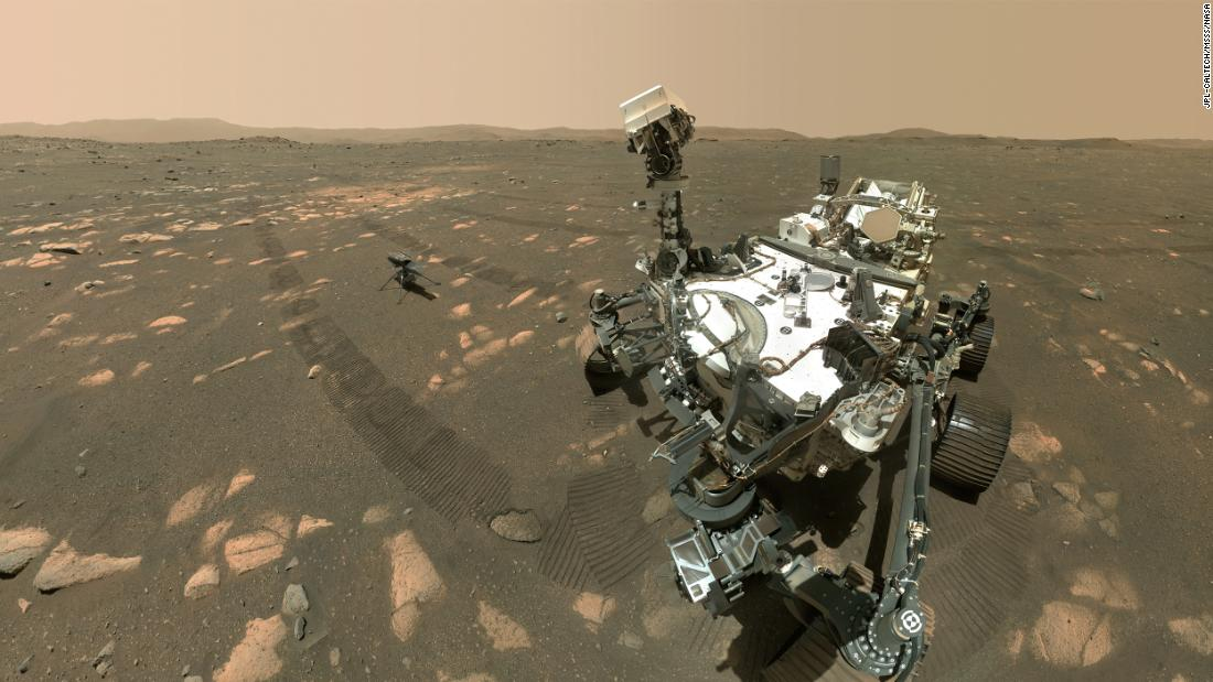 "NASA's Perseverance rover took a selfie on Mars with <a href=""https://www.cnn.com/2021/04/07/world/mars-perseverance-rover-helicopter-picture-scn-trnd/index.html"" target=""_blank"">the Ingenuity helicopter</a> on Tuesday, April 6. The 4-pound helicopter is sitting about 13 feet away from the rover."
