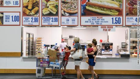 Costco shut down seating areas in food courts last March.