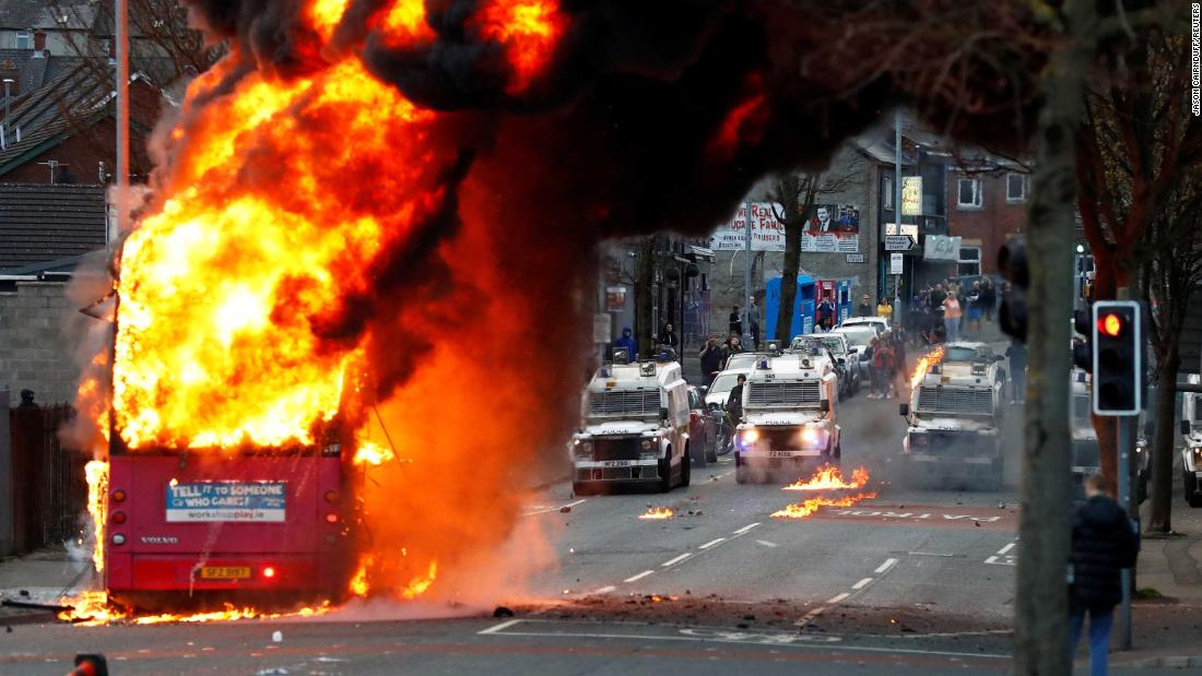 Bus torched in more Northern Ireland violence as British and Irish leaders call for calm thumbnail