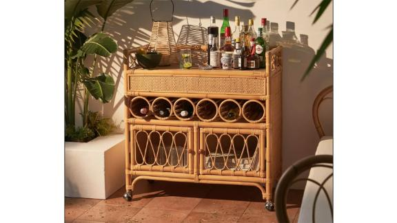 Melody Rattan Bar Cart