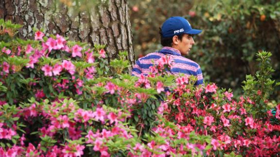 Joaquin Niemann looks for his ball on the 10th hole Thursday.