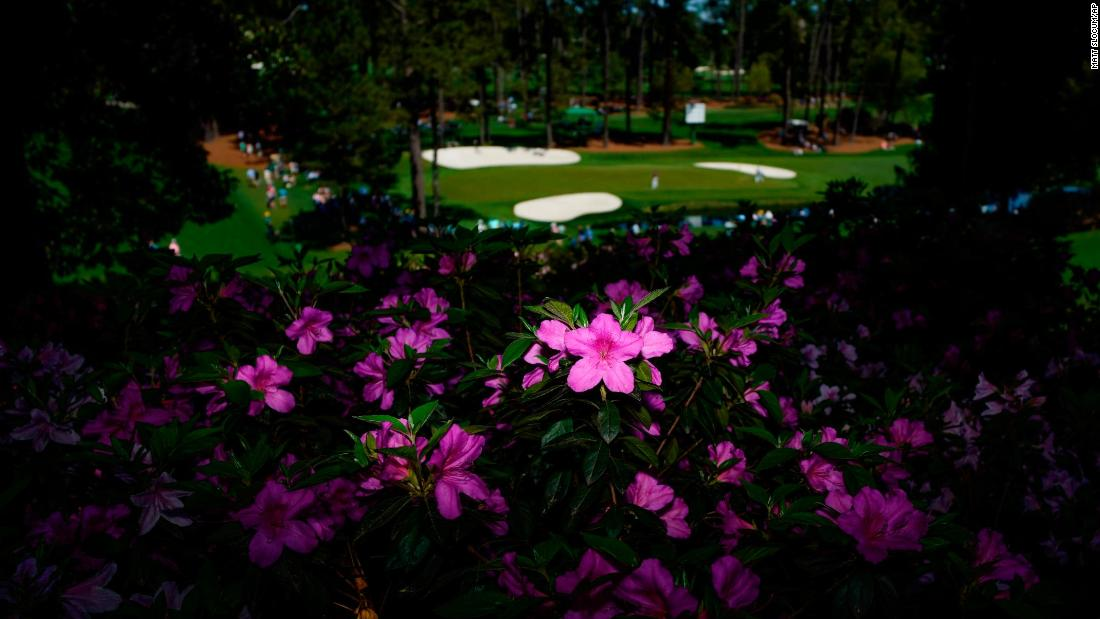 Azaleas frame the 16th green on Monday.