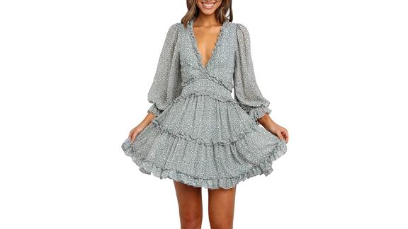 Dokotoo Deep V-Neck Ruffle Long Sleeve Mini Dress
