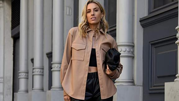 The Drop Faux Leather Long Shirt Jacket