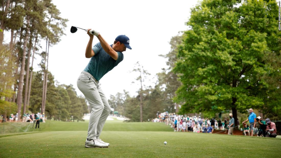 Former Masters champion Jordan Spieth hits a tee shot on No. 7.