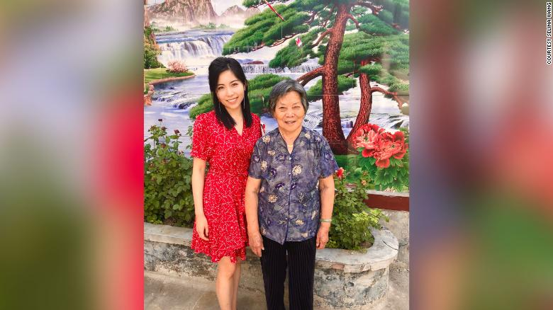 Selina Wang with her grandmother at her relatives' home village in Henan, China.