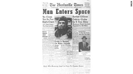 The front page of The Huntsville Times newspaper documented the historic moment.
