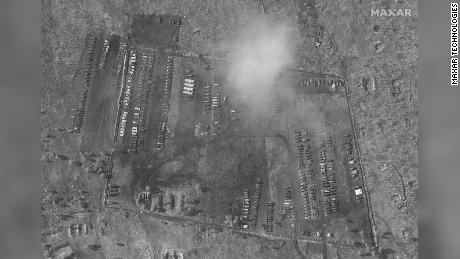 A buildup of vehicles at the  Pogonovo training area, seen in Maxar's satellite image.