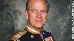 Britain's Prince Philip, the Duke of Edinburgh, poses in his military dress uniform circa 1990.