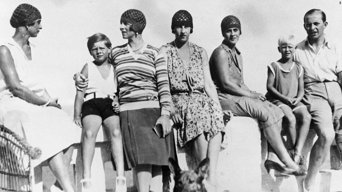 From left, Princess Fedora of Greece, King Michael and his mother, Princess Helene, Princess Irene of Greece, Princess Marguerite of Greece, Prince Philip and Prince Paul of Greece enjoy a vacation in Mamaia, Romania, in 1928.