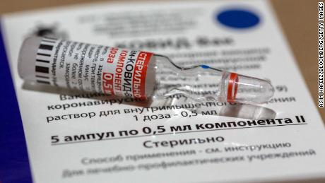 A vial of the Sputnik V Covid-19 vaccine at a cold storage facility in Karachi, Pakistan, on Friday, March 19, 2021. Islamabad has granted permission to Russias Sputnik V, which has been validated by global experts as being more than 90% effective. Photographer: Asim Hafeez/Bloomberg via Getty Images