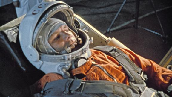 Cosmonaut Yuri Gagarin, the first human to fly into space, was launched in a Vostok 1 space capsule on April 12, 1961. He spent 108 minutes orbiting the Earth before parachuting back to firm ground.