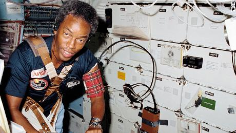 """Guion """"Guy"""" Bluford Jr., the first African American person in space, exercises on the space shuttle Challenger's treadmill.   - 210409140703 14 space firsts guion bluford large 169 - NASA's Space Shuttle Program: 8 pivotal moments"""