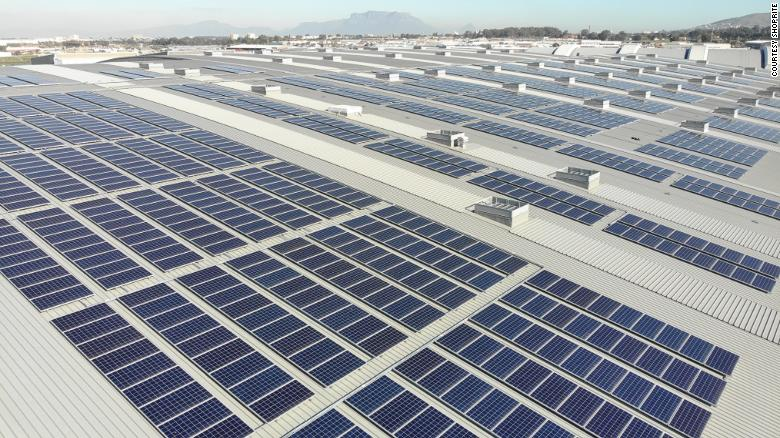 Shoprite's Basson Distribution Center, on the outskirts of Cape Town, has solar panels on its roof covering an area equivalent to a soccer field.