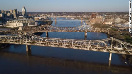 The Brent Spence Bridge spans the Ohio River on the Ohio-Kentucky border in Cincinnati, Ohio on April 2, 2021.