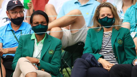 Former US Secretary of State Condoleezza Rice, left, watches the action along with fellow Augusta National member Heidi Ueberroth on Friday.