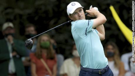 Jordan Spieth tees off on the seventh hole during the second round of the Masters.
