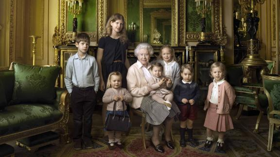The Queen takes a photo with five of her great-grandchildren and her two youngest grandchildren in April 2016.