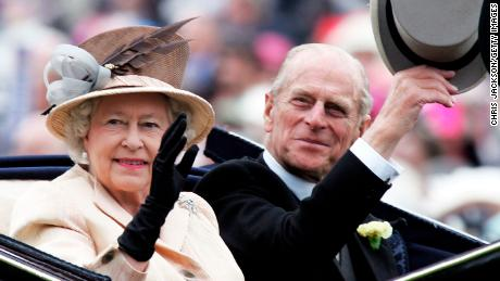 YORK, ENGLAND - JUNE 16:  HM Queen Elizabeth II , The Queen, and husband Prince Philip, the Duke of Edinburgh, arrive in the Royal Carriage on the third day of Royal Ascot 2005, Ladies' Day, at York Racecourse on June 16, 2005 in York, England. One of the highlights of the racing and social calendars, Royal Ascot was founded in 1711 by Queen Anne and royal patronage continues to the present day with a Royal Procession taking place in front of the grandstands each day. This year's Royal Meeting is relocated to York Racecourse due to a major redevelopment programme at Ascot, due to re-open in 2006.  (Photo by Chris Jackson/Getty Images)
