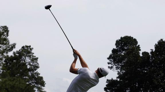 Justin Thomas hits a tee shot on Saturday.