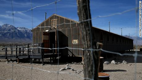 A replica of concentration camp barracks stands at Manzanar National Historic Site in California, where thousands of Japanese Americans were incarcerated during World War II.