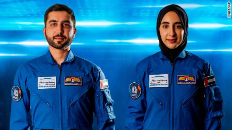 Mohammed al-Mulla, left, and Noura al-Matroushi have joined the United Arab Emirates' space program.