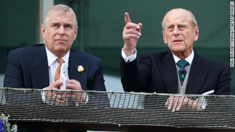 Prince Philip and Prince Andrew at Epsom Racecourse, England, on June 4, 2016.