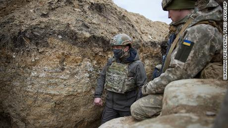 The President of Ukraine heads the trenches, largely from Russia's troops