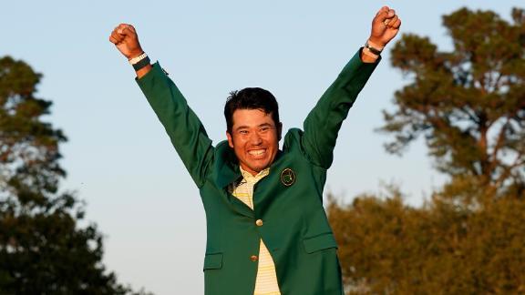 Hideki Matsuyama celebrates with the green jacket after winning the Masters golf tournament on Sunday, April 11. He finished one shot ahead of Will Zalatoris.