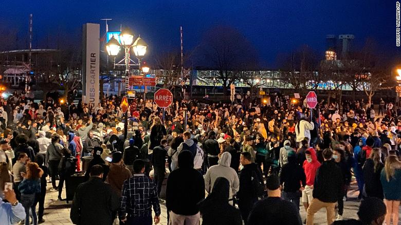 Protests break out in Montreal after the city's latest Covid curfew