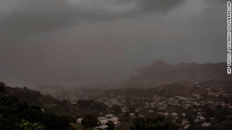 A cloud of volcanic ash hovers over Kingstown on St. Vincent Saturday.