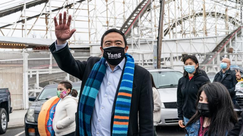 New York City mayoral candidate Andrew Yang and his family visit Coney Island on April 9, 2021.