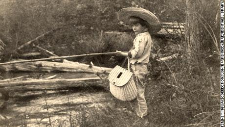 Ernest Hemingway fishing in Horton's Creek, near Walloon Lake, Michigan, July 1904.