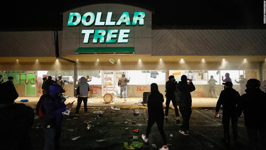 A Dollar Tree store, close to the Brooklyn Center police headquarters, was looted.