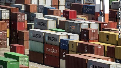 Shipping containers at the Yangshan Deepwater Port in Shanghai, China, on Friday, April 9, 2021. China is scheduled to release trade figures on April 13. Photographer: Qilai Shen/Bloomberg via Getty Images