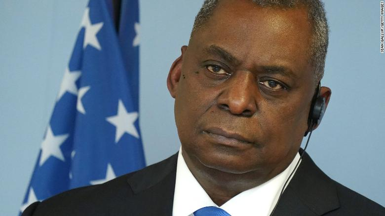 Defense Secretary Lloyd Austin listens to a reporter's question while addressing the media following talks at the German Defense Ministry on April 13, 2021, in Berlin.