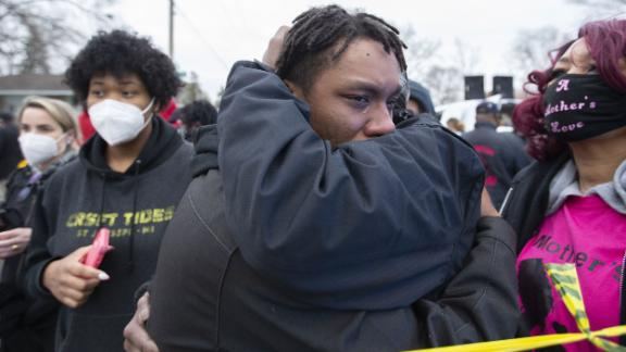 Relatives of Daunte Wright react in Brooklyn Center on Sunday.