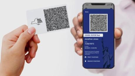 New York state is using IBM's Excelsior Pass, which can display a user's vaccination status or a Covid-19 test result, for entrance to some events and businesses.