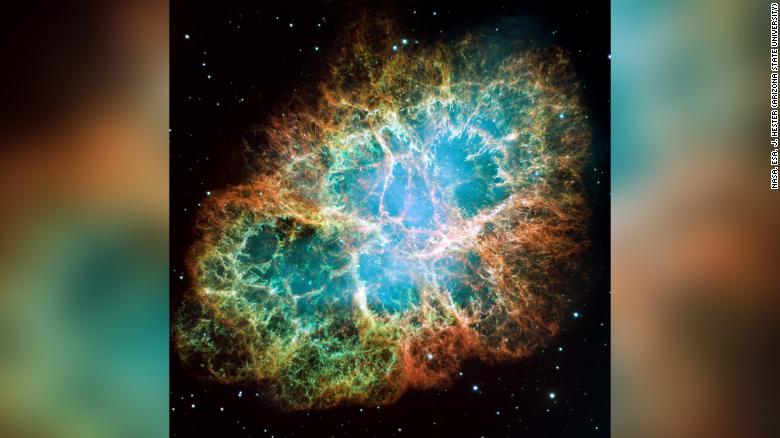This mosaic image of the Crab Nebula was captured by NASA's Hubble Space Telescope.