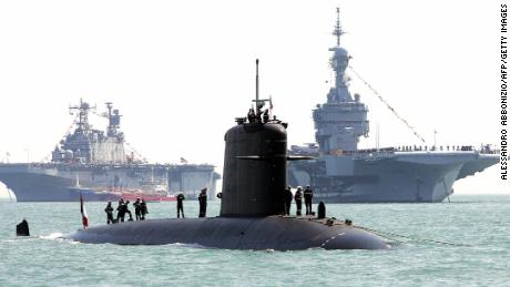 The French submarine Perle is seen in Portsmouth, UK, in 2004.