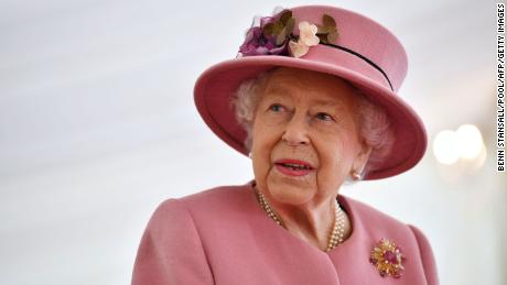 A file photo of the Queen at Porton Down science park near Salisbury, southern England, last October.