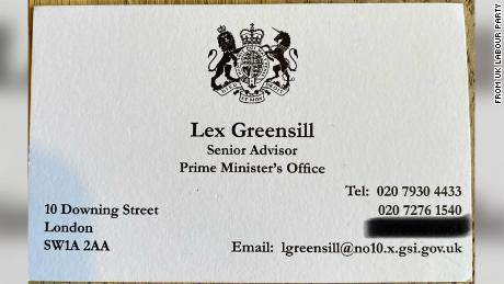 The opposition Labour party has leaked the Downing Street business card of Lex Greensill.