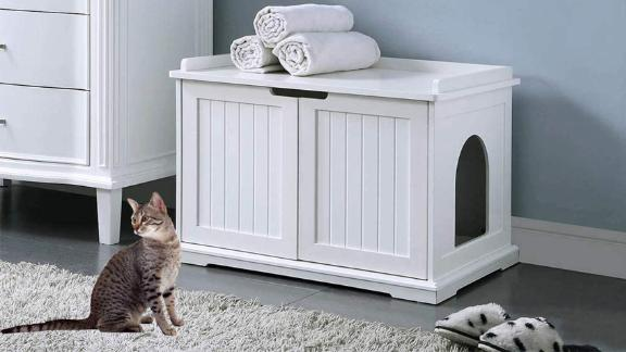 Unipaws Designer Cat Washroom Storage Bench