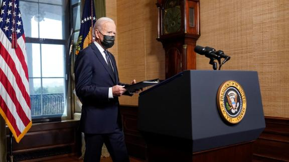 President Joe Biden arrives to speak from the Treaty Room in the White House on Wednesday, April 14, 2021, about the withdrawal of the remainder of U.S. troops from Afghanistan.
