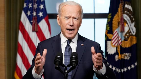 President Joe Biden speaks from the Treaty Room in the White House on Wednesday, April 14, 2021, about the withdrawal of the remainder of U.S. troops from Afghanistan.=