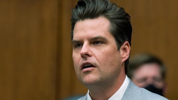 Rep. Matt Gaetz, R-Fla., questions witnesses during a House Armed Services Committee hearing on Capitol Hill, Wednesday, April 14, 2021, in Washington.