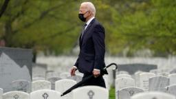 President Joe Biden visits Section 60 of Arlington National Cemetery in Arlington, Va., on Wednesday, April 14, 2021. Today Biden announced the withdrawal of the remainder of U.S. troops from Afghanistan by Sept. 11, 2021, the 20th anniversary of the terrorist attacks on America.